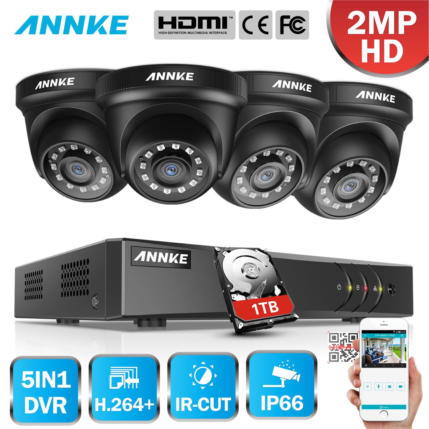ANNKE 4CH H.264+ 1080P Lite CCTV System DVR 4pcs 2.0MP IR Night Vision Security Dome Cameras 1080P Video Surveillance Kit