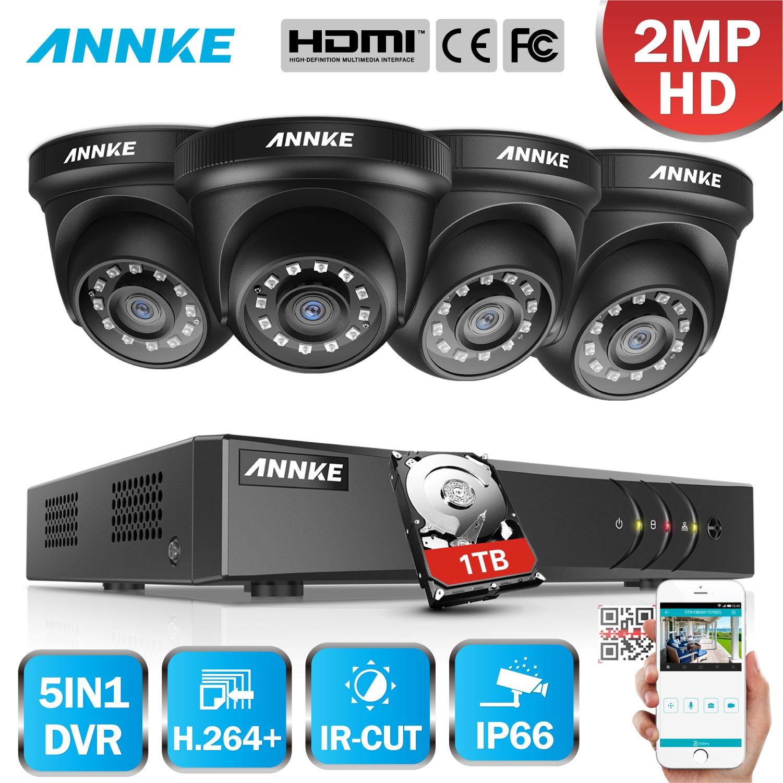 ANNKE 4CH H.264+ 1080P Lite CCTV System DVR 4pcs 2.0MP IR Night Vision Security Dome Cameras 1080P Video Surveillance Kit