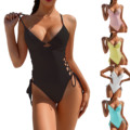 Einfarbig Damen Badeanzug einteiliges Sexy Sommer Urlaub Bikini Mit Verstellbaren Trägern Dropship