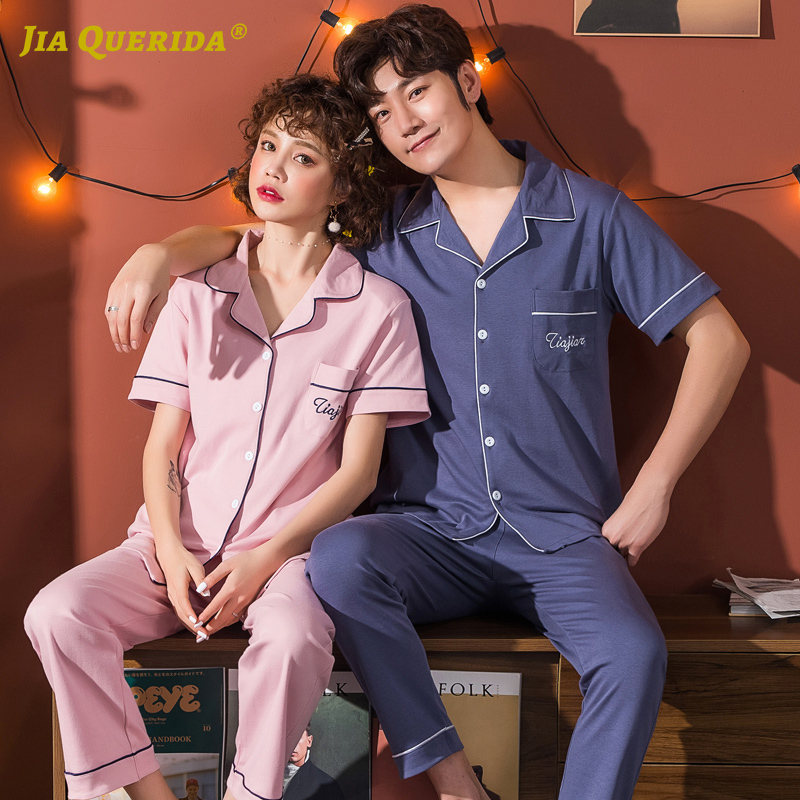 Summer Pajamas Set Men And Women Couple Turn Down Collar Front Pocket Fashion Style Casual Style Short Sleeve Long Pants 4XL 5XL