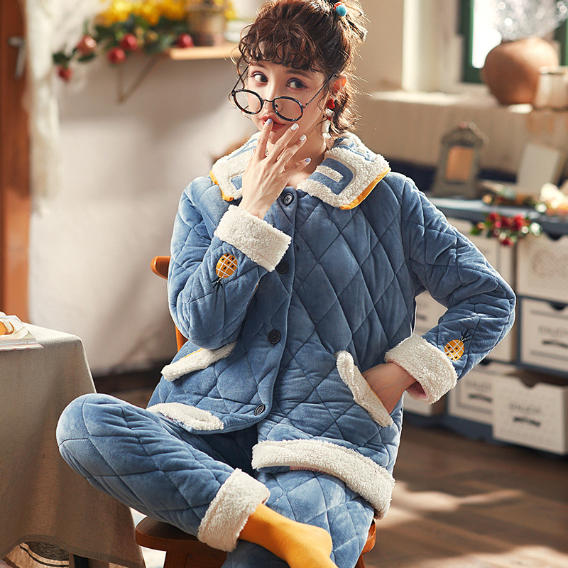 Padded Three Layer Thick Warm Fashion Household Two-Piece Autumn & Winter New Style Women's-Outer Wear Set