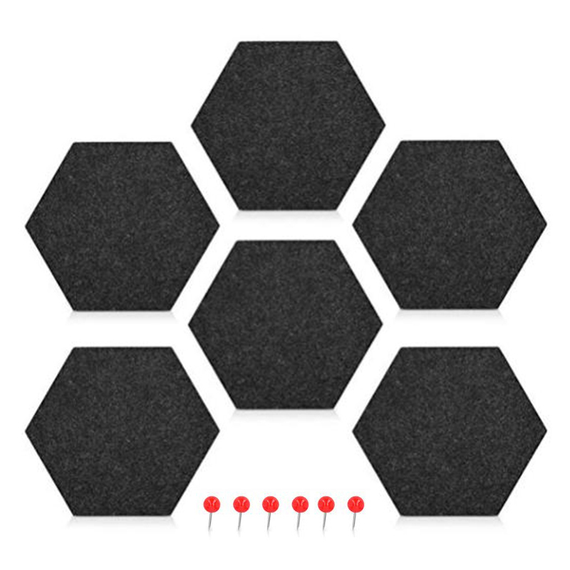 6 Pack Felt Memo Board Decorative Notice Board Hexagon Bulletin Board,Felt Cork Board Tiles,Pin Board Wall Decor For Photos,Memo