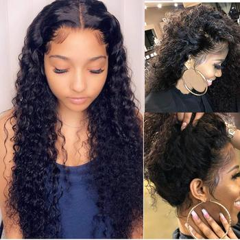 Glueless Deep Wave Human Hair Lace Front Wigs Pre-Plucked Suerkeep Natural Hairline Brazilian Deep Wave Lace Frontal Wigs 150% D lace frontal human hair wigs brazilian water wave wig pre plucked natural hairline 150