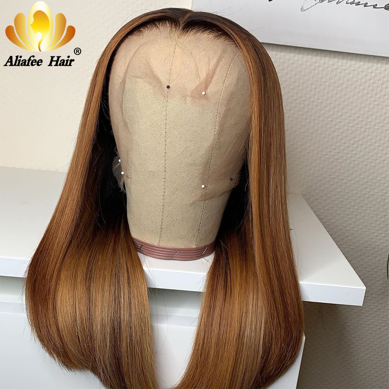 Aliafee Wig Color #30/Naural Color Peruvian Straight 13x6 Bob Lace Front Wigs Glueless Human Hair Wigs 150% 180% Density Bob Wig