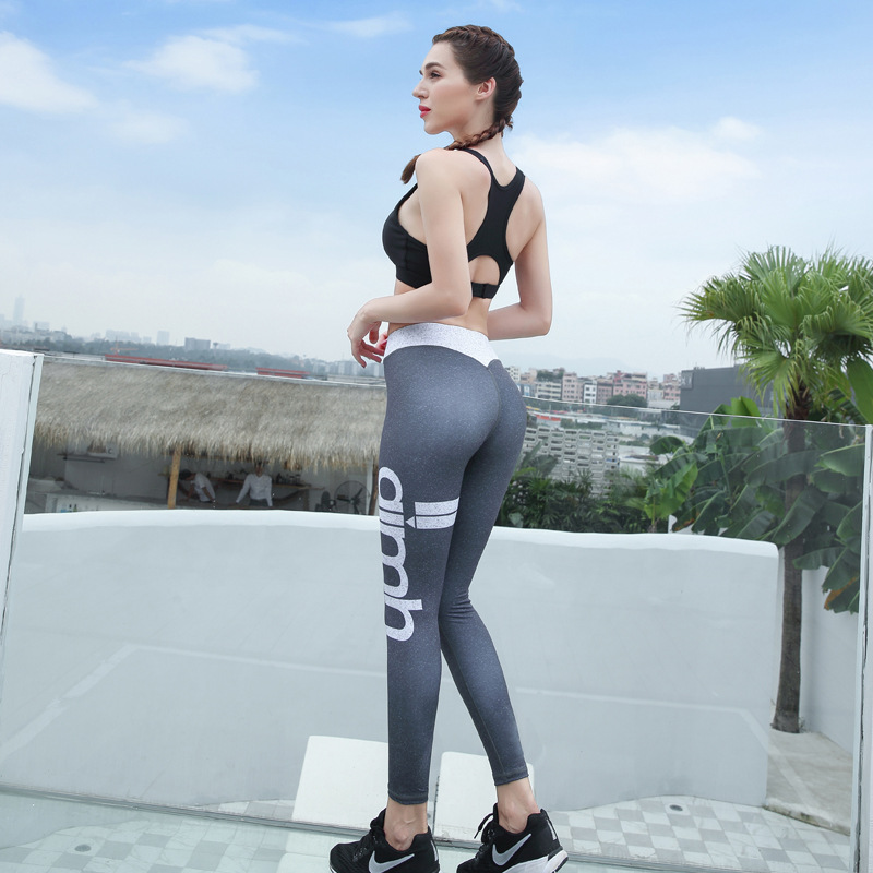 Ajmh Summer Remodeling Yoga Pants Women's Elasticity Medium Waist Buttock Lifting Yoga Clothes Tight Slimming Quick-Dry Fitness