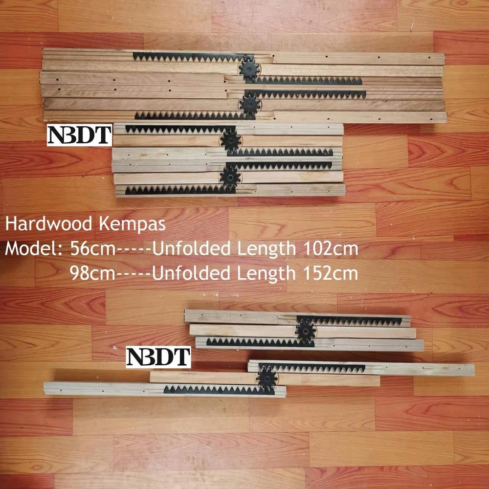 1 Pair 56cm 98cm  Hardwood Kempas 3-fold Dinning Table Slides Wood Table Slide Extension Sliding Equalizer Extender