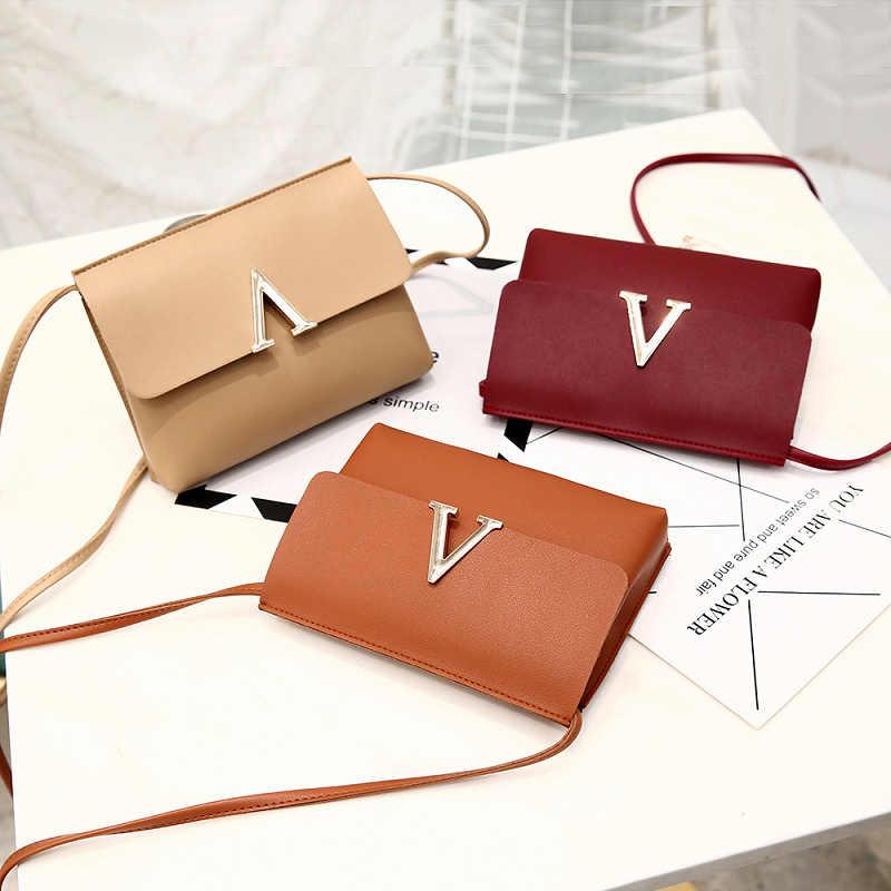 De Metal en forma de V de hombro, bolsos de las mujeres de cuero de la PU de moda mujer bolso bolsa femenina