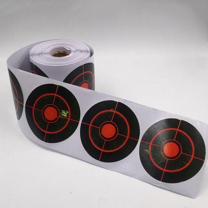 250Pcs/Roll Shooting Target Sticker Adhesive Bullseye Splashing Target Reactive Sticker 7.5cm Archery Shooting Practice Stickers