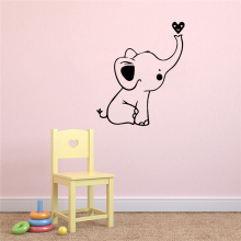 Pretty Cute Elephant Little Heart Vinyl Wall Stickers Wallpaper For Kids Rooms Diy Home Decoration Wall Decoration Murals