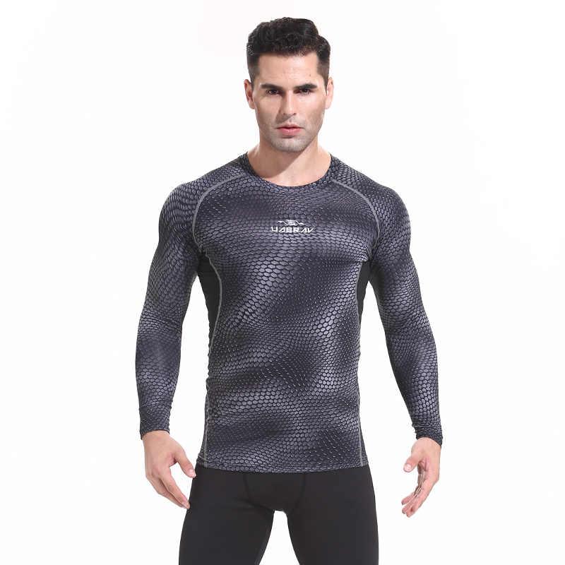 Spor gömlek atletik kuru Fit erkekler egzersiz T sıkıştırma üstleri çalışan gömlek uzun kollu spor vücut geliştirme hızlı kuru sıkı