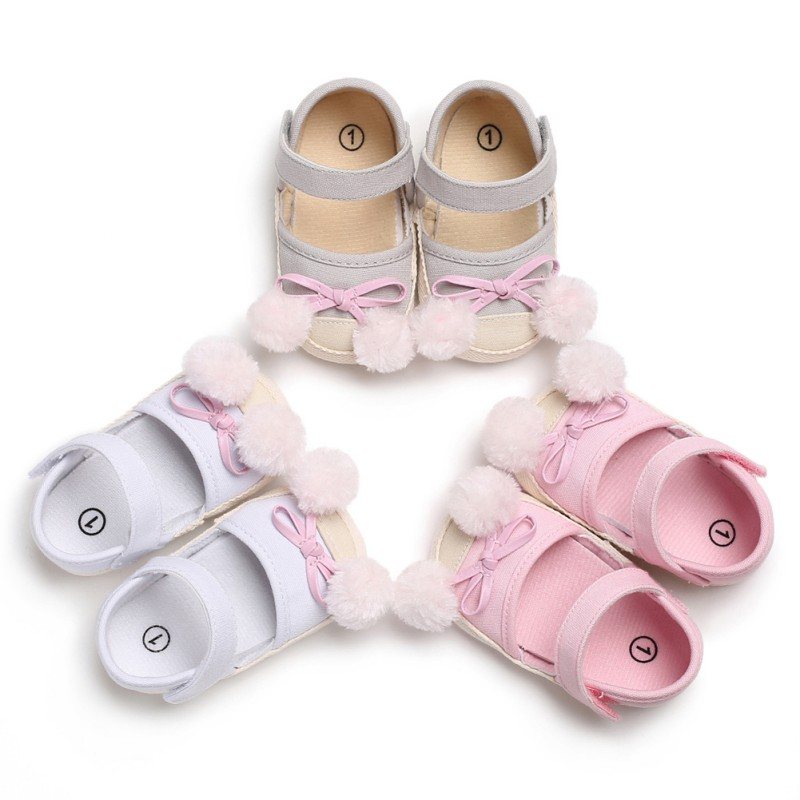 Spring Summer Newborn The First Walker Shoes Baby Girl Cute Pompon Soft Bottom Canvas Princess Shoes Ball Bow Children's Shoes