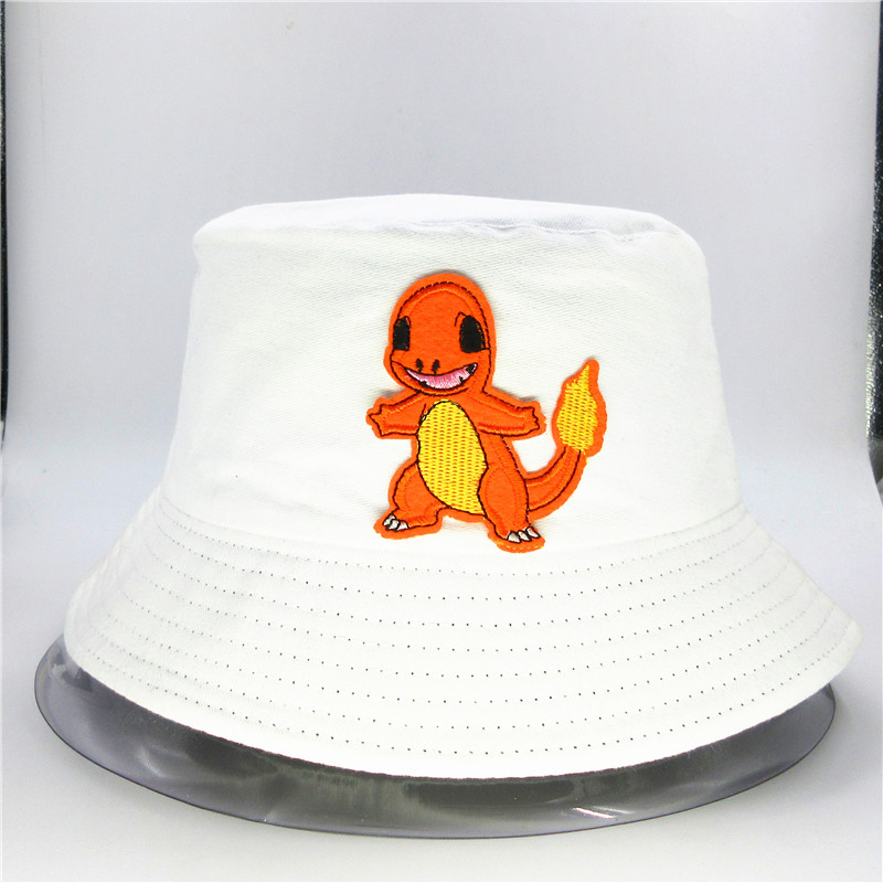 Cartoon Dragon Embroidery Cotton Bucket Hat Fisherman Hat Outdoor Travel Hat Sun Cap Hats For Kid Men  Women 10