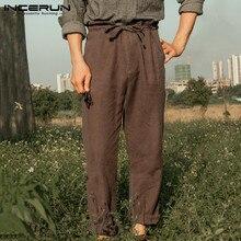 Pants Joggers Trousers Men Cotton Loose-Streetwear Linen Men INCERUN S-5XL Lace-Up Casual