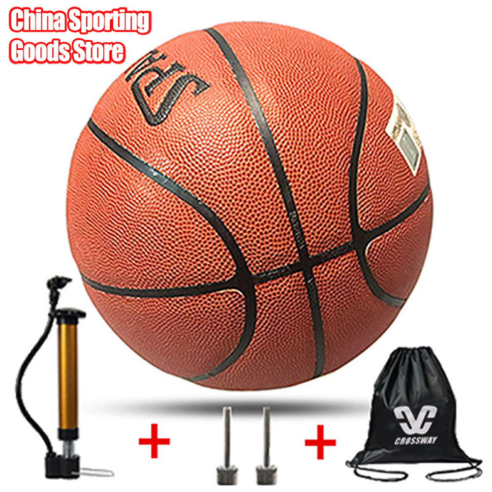 Standard Basketball, Wear-resistant Leather Basketball, Indoor / Outdoor, For Training, Free Air Pump + Air Needle + Bag
