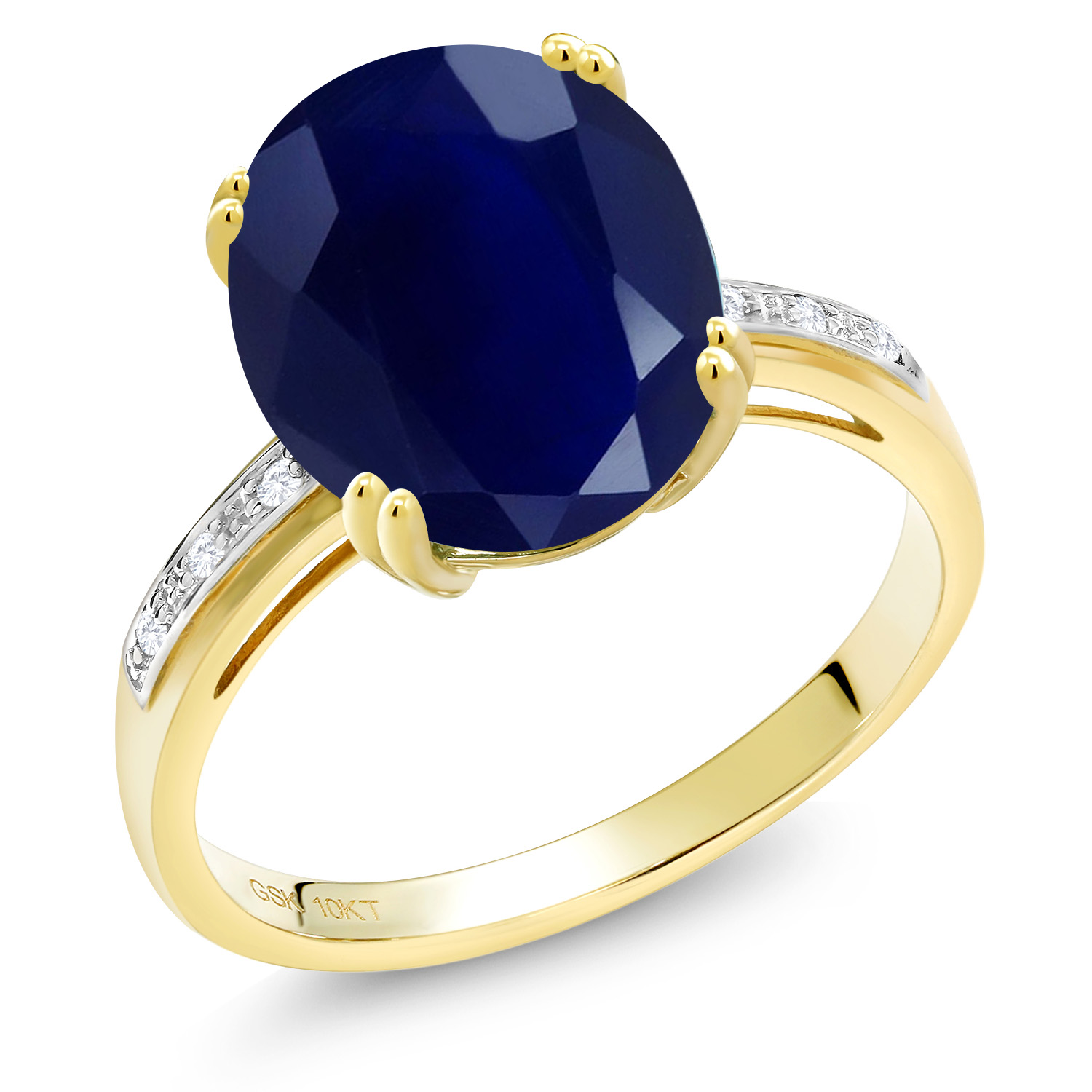 10K Yellow Gold 5.04 Ct Oval Blue Sapphire White Diamond Accent Solitaire Ring