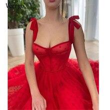 Verngo 2021 kırmızı Polka noktalar tül bir çizgi gece elbisesi spagetti sapanlar bağlı yay omuz çay boyu parti mezuniyet balo elbise