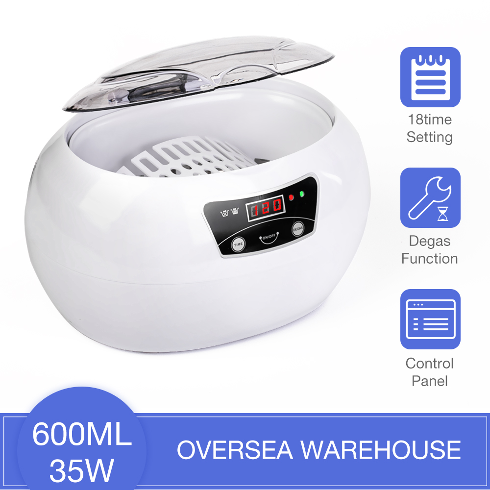 Ultrasonic Cleaner 600ml Bath Timer for Jewelry Parts Glasses Manicure Stones Cutters Dental Razor Brush Ultrasound Sonic