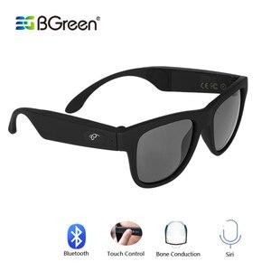 Image 1 - Bgreen condução óssea fone de ouvido bluetooth áudio inteligente polarizado óculos de sol vidro com bluetooth correndo fone de ouvido caminhadas