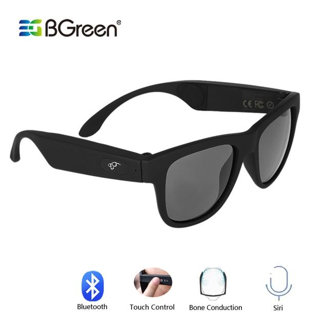 Bgreen condução óssea fone de ouvido bluetooth áudio inteligente polarizado óculos de sol vidro com bluetooth correndo fone de ouvido caminhadas