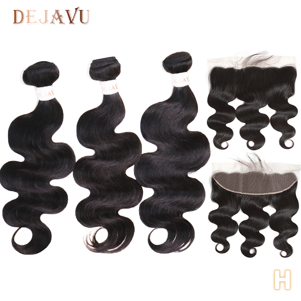 Brazilian Hair Weave Bundles Body Wave Bundles With Frontal Non-Remy Human Hair 3 Bundles With Closure Frontal Hair Extension