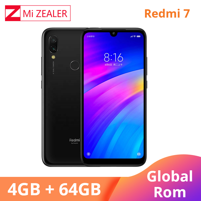 Global ROM Xiaomi Redmi 7 64 4GB de RAM GB ROM Azul Telemóvel Snapdragon 632 Xiomi 12MP Câmera 4000mAh Bateria de tela cheia