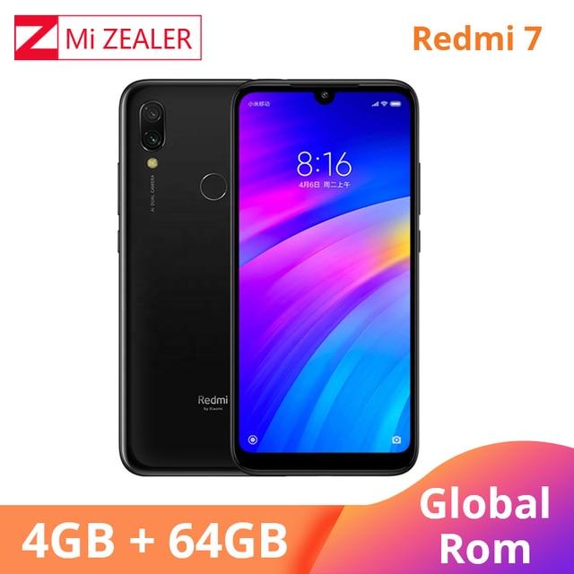 הגלובלי ROM Xiaomi Redmi 7 4GB RAM 64GB ROM כחול נייד טלפון Snapdragon 632 Xiomi 12MP מצלמה 4000mAh סוללה מלא מסך