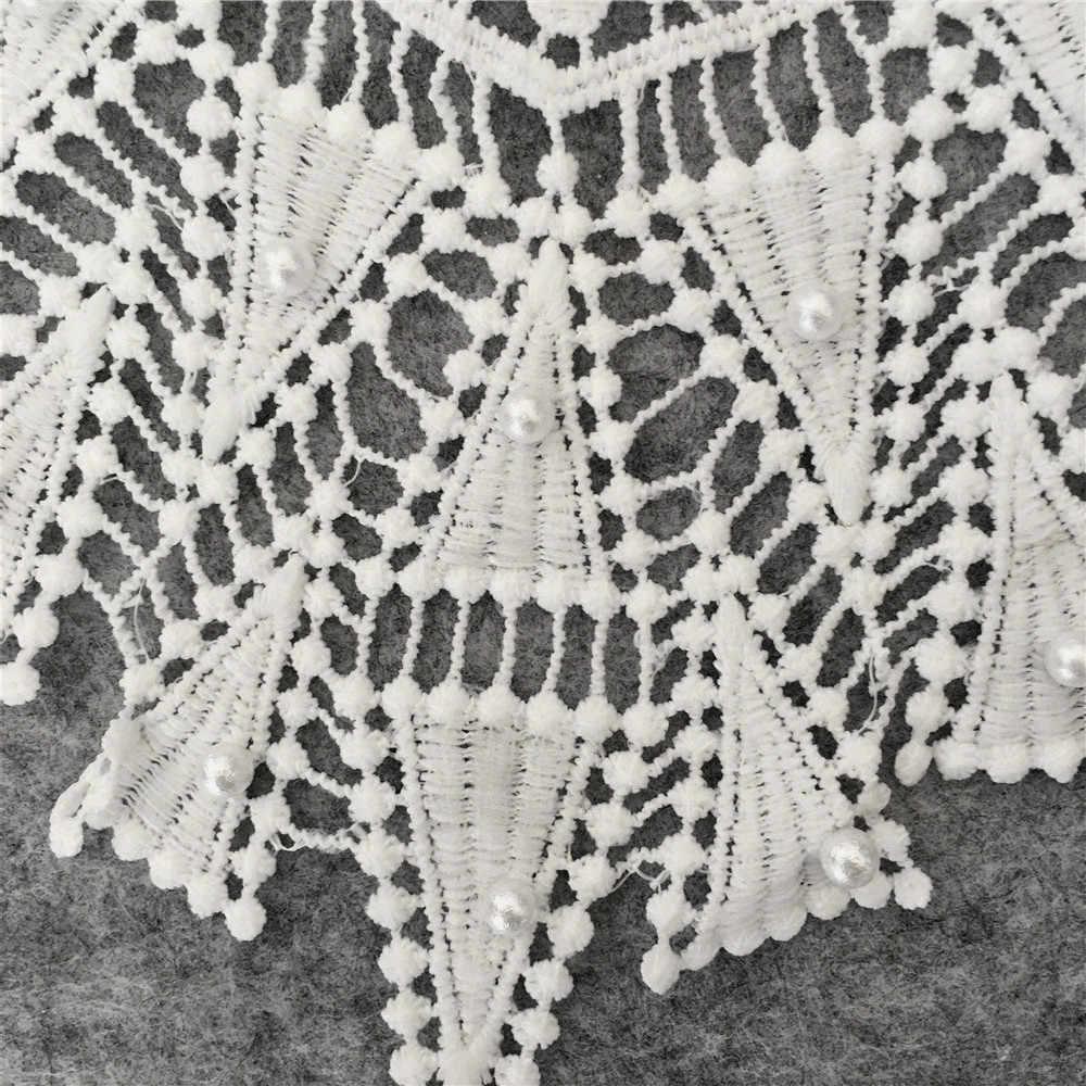 לבן ABS פרל רקום תחרה צווארון מחשוף Venise Applique רקמת על תיקוני DIY לקצץ תפירת בד אביזרי YL113