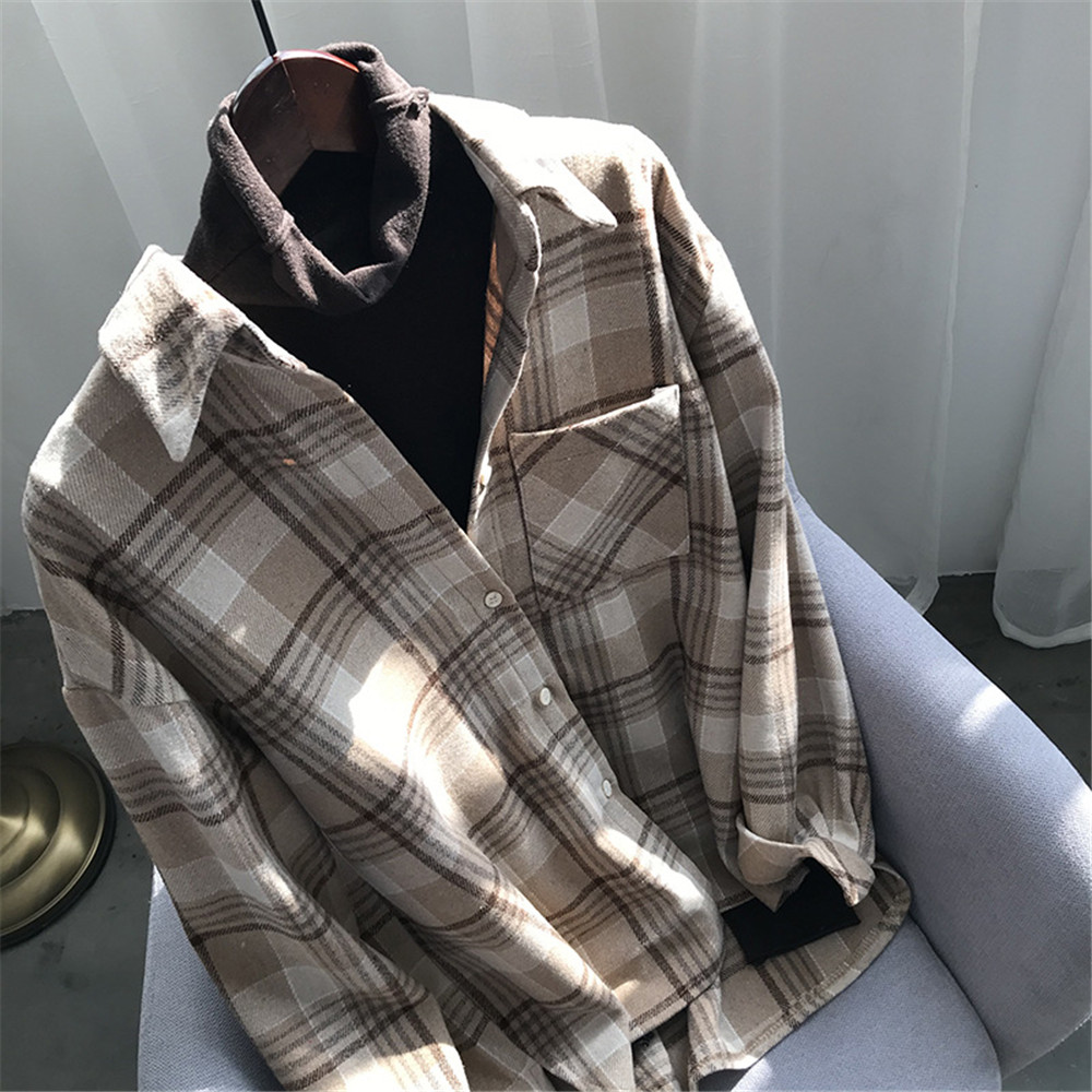 Spring Thick Loose cotton plaid Women blouses shirt 2020 female long sleeve Casual Warm women Blouse shirt office lady top Y0675 (33)