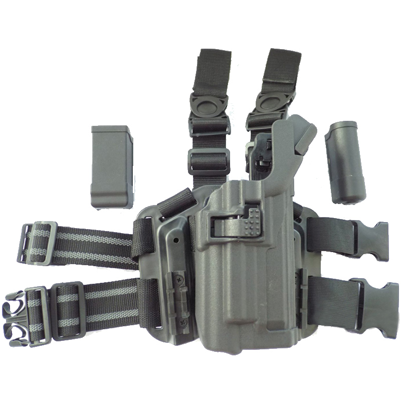 Pistola Coldre Lanterna Militar Arma Estojo Airsoft Perna Direita Coldre