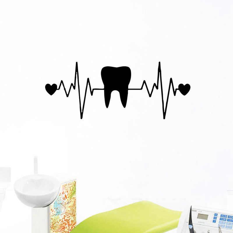 WJWY الأسنان طب الأسنان ملصقات جدار القلب ECG الفينيل صور مطبوعة للحوائط طبيب الأسنان عيادة ديكور الأسنان خلفية الحمام الديكور