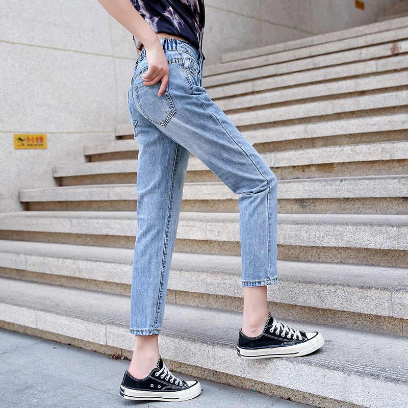 Nueva llegada de 2019 ropa femenina de calle novio Jeans Mujer Tron rasgado Jeans mujeres cintura elástica pantalones casuales talla grande