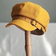Hat Women Painter Casual-Caps Beret-Striped Retro Black Fibonacci French Brown Artist-Hat