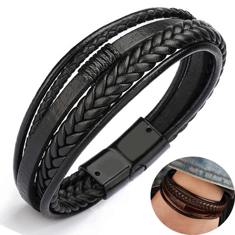 2019 leather bracelet men bangles for mens Magnetic-Clasp Cowhide Braided Multi Layer Wrap Bracelet man pulseras moda masculina