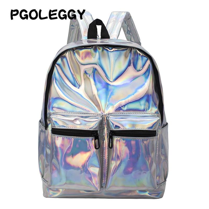 Laser Backpack Women Transparent Travel Bags 2019 Backpack New Women Backpack PU Leather Holographic Backpack Girls Shoulder Bag