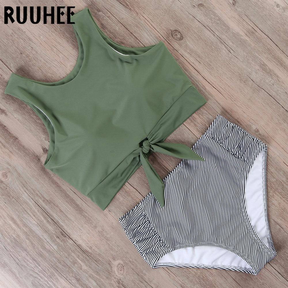 RUUHEE Swimsuit Women Bikini 2019 mujer Swimwear High Waist Bikini Set Sport Tops Bathing Suit Women Padded Beach Wear Biquinis 1