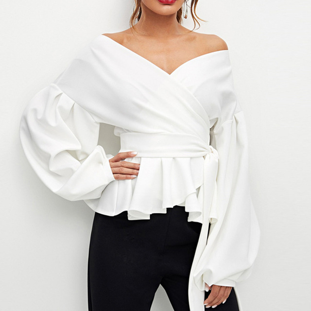 Fashion Women Long Sleeve BlouseCasual  Up Shirts Elegant Asymmetric Tops Sexy strapless lantern sleeve top bow  waist shirt 2