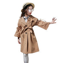 Korean Trench Coat Toddler Girl Outerwear Coats Jacket Bow Long Sleeve for Children 2019 New Fashion Camel Trench Coat 4-13Years 2016 new autumn girl coat print denim button trench children jacket long sleeve toddler kids girl outwear for 9 10 11 13 years