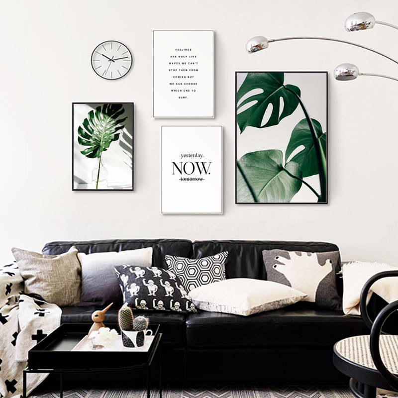 Ha3d3252a131a48369b5f264961d1f0e5V ART ZONE Nordic Canvas Painting Modern Prints Plant Leaf Art Posters Prints Green Art Wall Pictures Living Room Unframed Poster