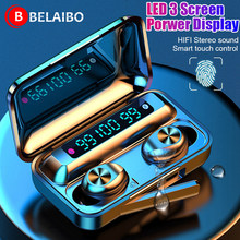 Tws 5.0 fones de ouvido bluetooth sem fio 9d esportes estéreo alta fidelidade à prova dmini água mini fones sem fio led 1200 mah caixa
