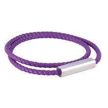 Модные фиолетовые кожаные браслеты мужские многослойная плетеная