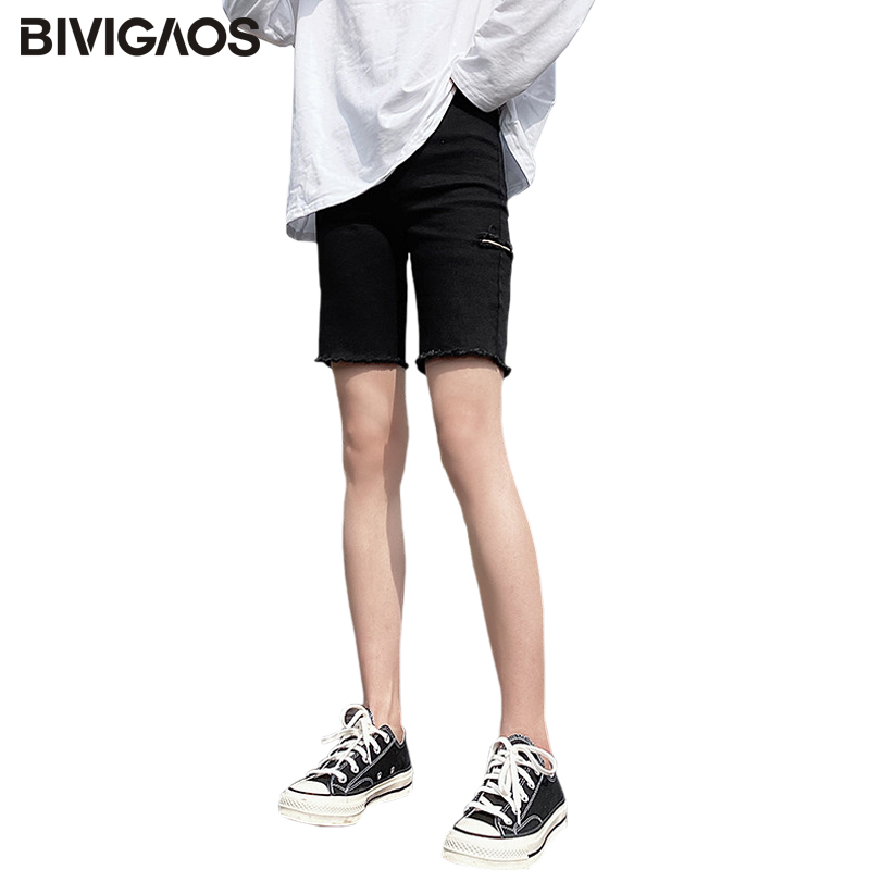 BIVIGAOS 2020 New Black Elastic Jean Shorts Women Summer Straight High Waist Ripped Hole Short Jeans Casual Denim Biker Shorts