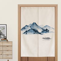 Chinese Ink Landscape Door Curtain Living Room Bedroom Bathroom Toilet Partition Curtain Feng Shui Curtain Noren