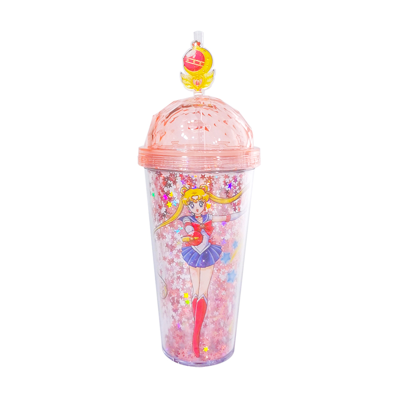 Genuine License Sailor Moon Bling Quicksand Glitter Cold Tumbler Cup Holiday Mug Cosplay Costume