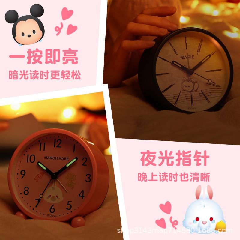 Disney оригинал детский% 27s будильник часы ученик прикроватная тумбочка украшение креатив немой милый мультфильм индивидуальность светящийся аккумулятор