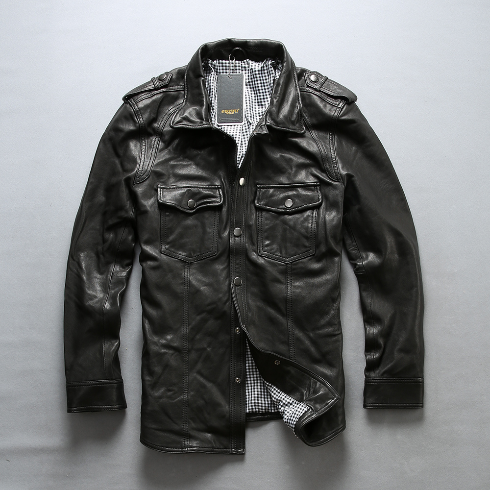 AVIREXFLY 2020 New Men Motorcycle Leather Shirt Jacket Male Black flld thin Genuine Sheepskin tight style Riding Biker Jackets