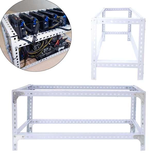 80cmX30cmx35cm DIY Steel Stackable Miner Frame Case 6GPU Mining Rig Frame for BTC Mining Crypto Machine White