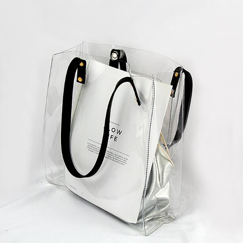 Summer Transparent Handbag For Women 2019 PVC Clear Bag Travel Ladies Shoulder Bag With Purse Large Capacity Beach Tote Bag