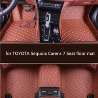 PU leather car floor mats for TOYOTA Sequoia 7 Seat 2006 2007 2008 2018 Custom foot Pads automobile carpet covers
