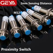 цена на GEYA 2mm Sensing Distance Inductive Proximity Switch NPN PNP DC 10-30V Proximity Sensor DC 3 Wire 4 Wire NO NC M12 Screw Size