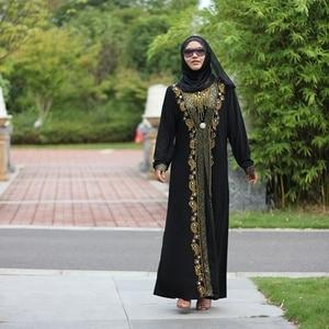 Image 5 - Dubai árabe islam abaya muçulmano vestido longo lantejoulas miçangas kaftan robes elegante splice maxi vestidos roupas islâmicas caftan